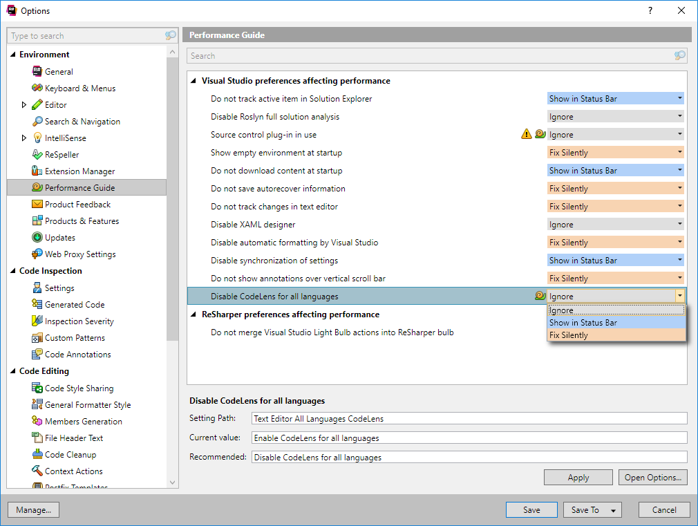 Code Lens conflicting with Resharper in Visual Studio